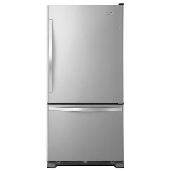 Model: WRB322DMBM   Whirlpool 33-inches wide Bottom-Freezer Refrigerator with SpillGuard™ Glass Shelves - 22 cu. ft
