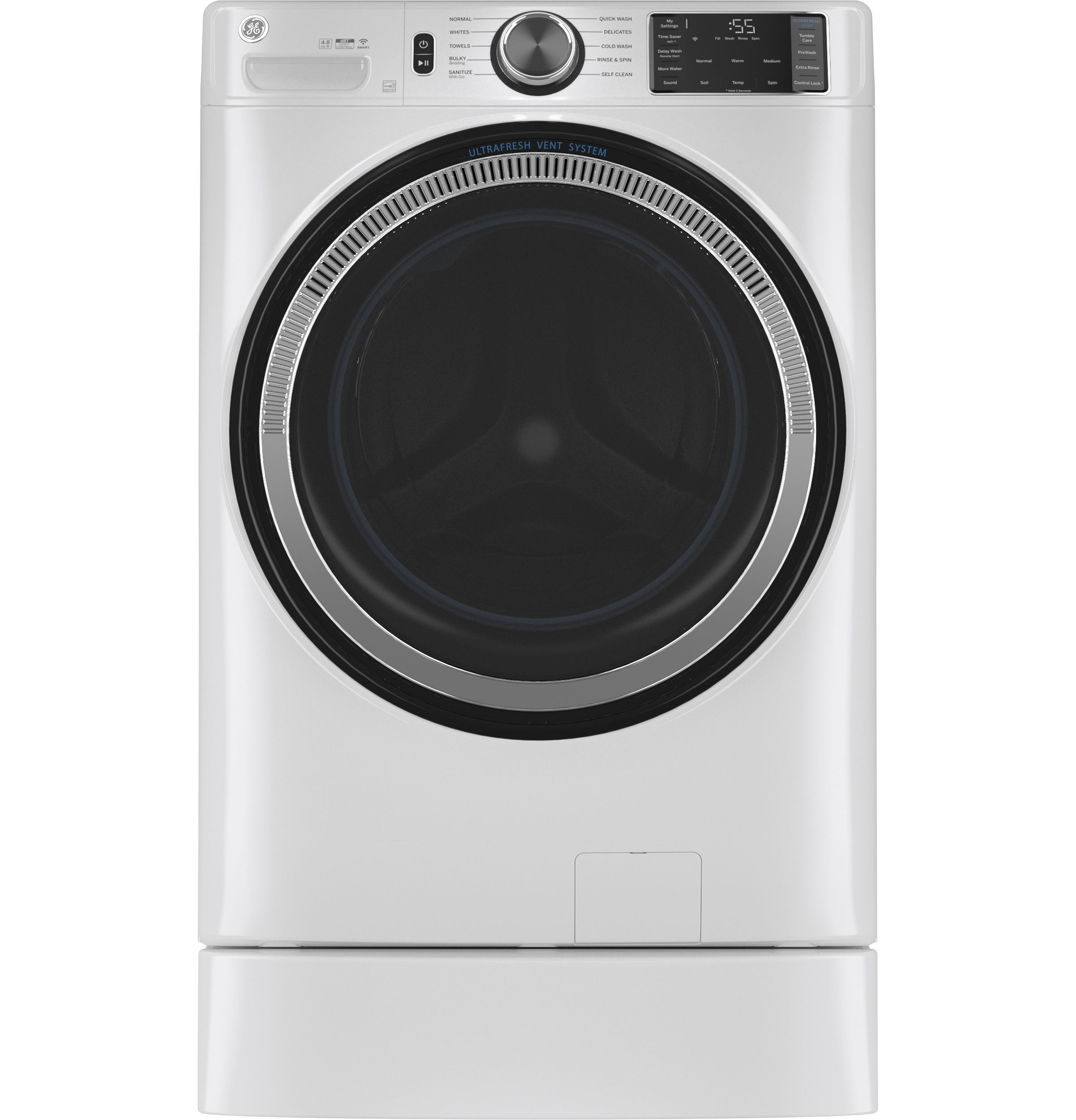 Model: GFW550SSNWW   GE GE® 4.8 cu. ft. Capacity Smart Front Load ENERGY STAR® Washer with UltraFresh Vent System with OdorBlock™ and Sanitize w/Oxi