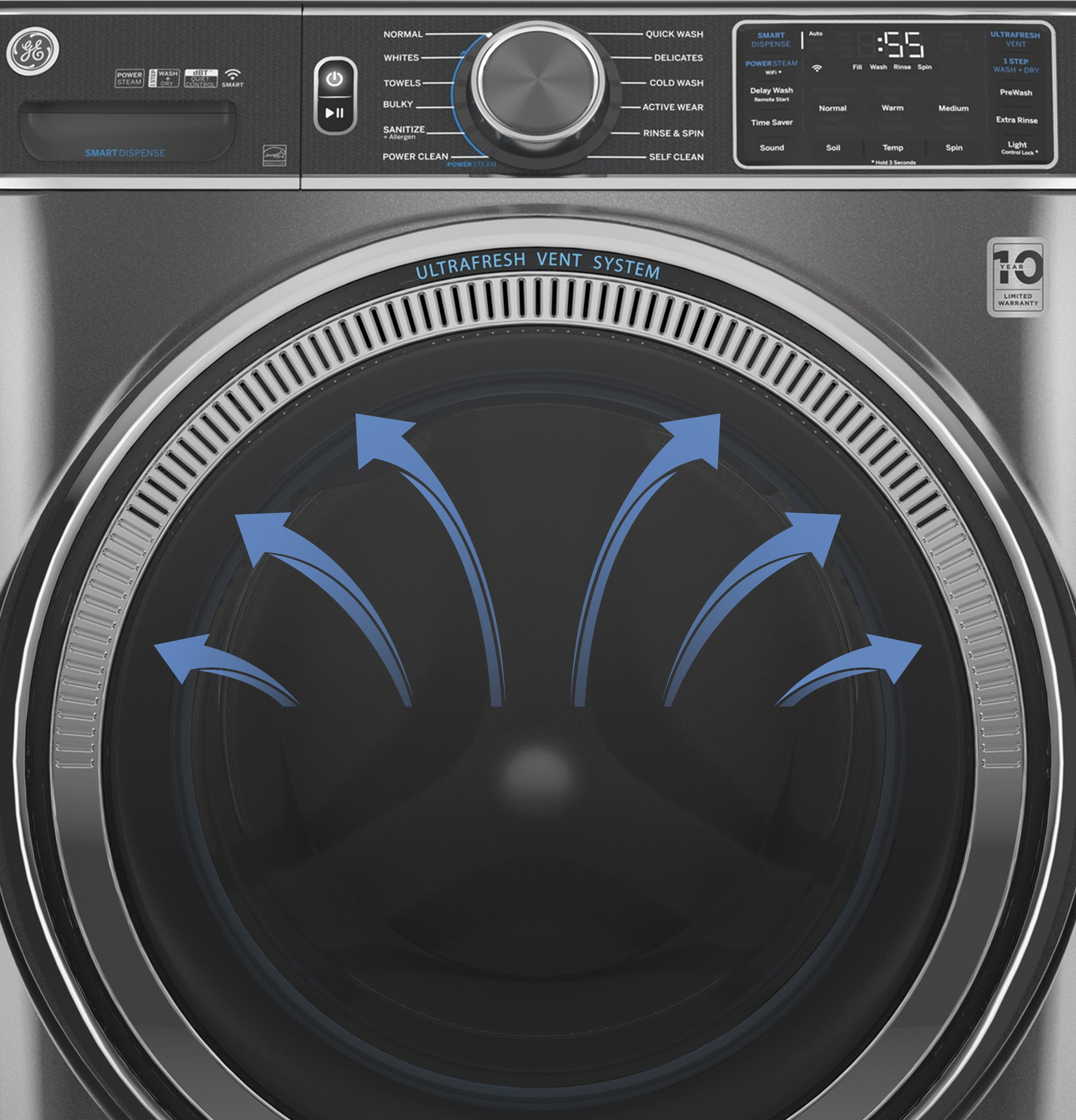 Model: GFW550SPNDG   GE GE® 4.8 cu. ft. Capacity Smart Front Load ENERGY STAR® Washer with UltraFresh Vent System with OdorBlock™ and Sanitize w/Oxi