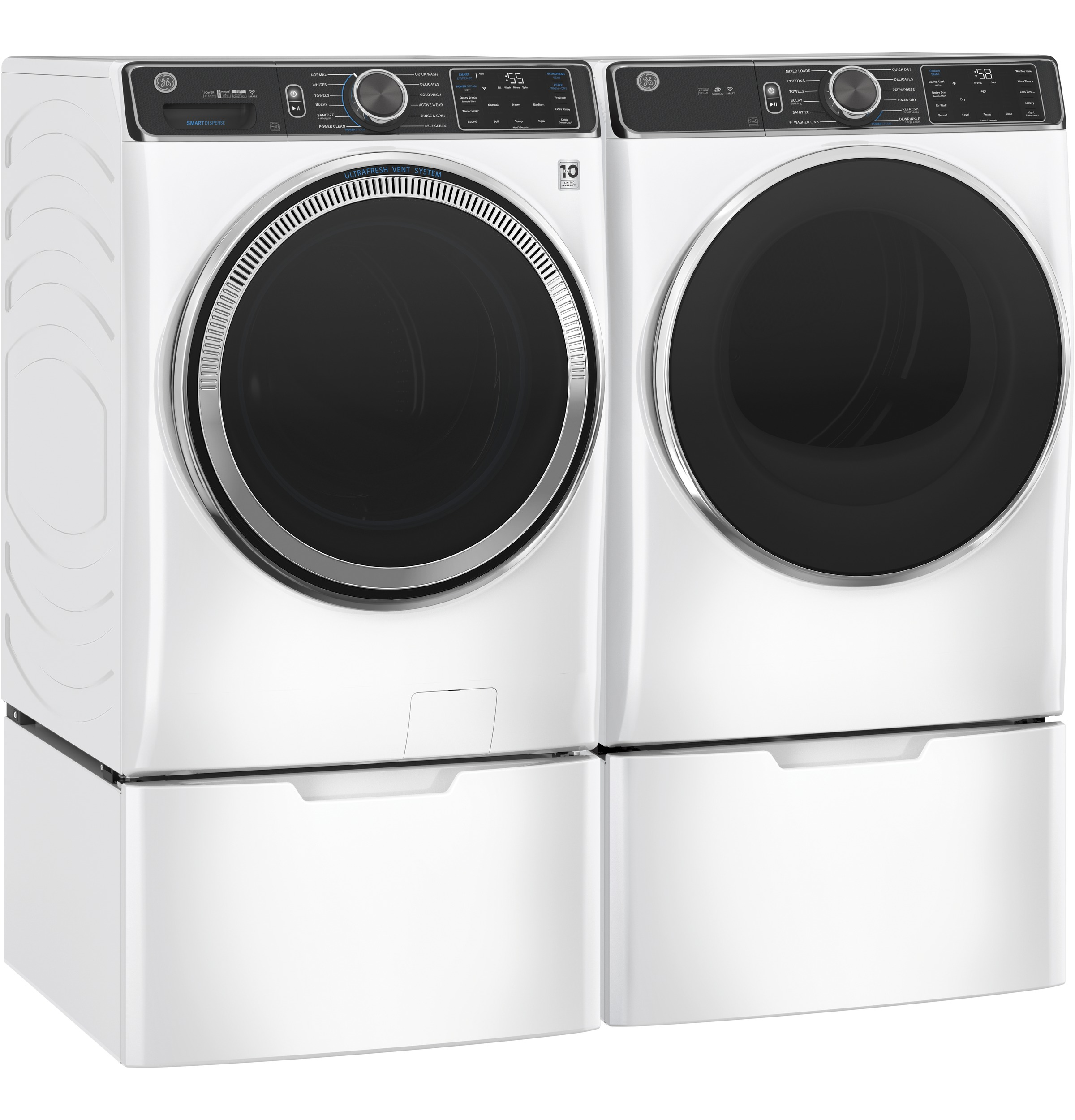 Model: GFW850SSNWW   GE GE® 5.0 cu. ft. Capacity Smart Front Load ENERGY STAR® Steam Washer with SmartDispense™ UltraFresh Vent System with OdorBlock™ and Sanitize + Allergen