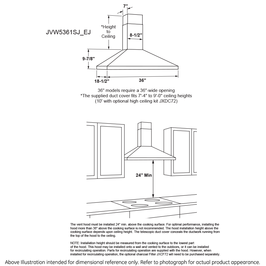 "Model: JVW5361BJTS | GE GE® 36"" Wall-Mount Pyramid Chimney Hood"
