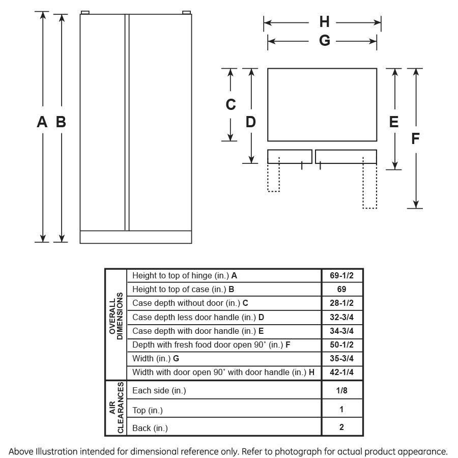 Model: GSS25IGNWW | GE GE® 25.1 Cu. Ft. Side-By-Side Refrigerator
