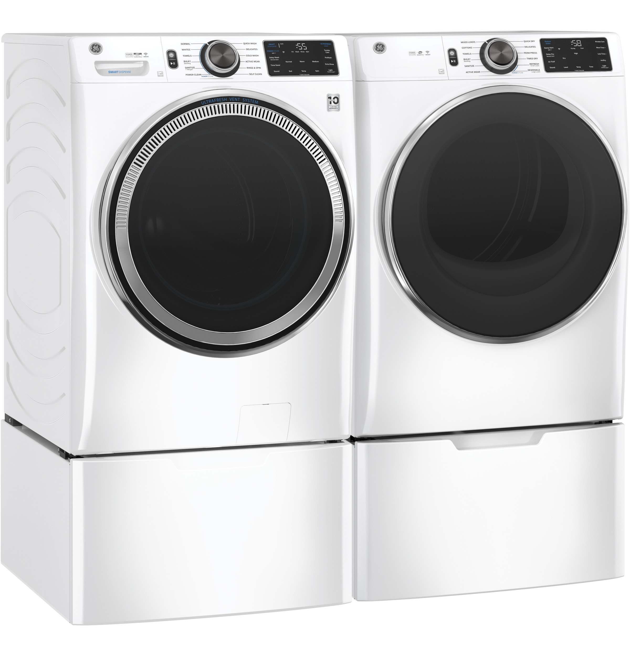 Model: GFW650SSNWW   GE GE® 4.8 cu. ft. Capacity Smart Front Load ENERGY STAR® Steam Washer with SmartDispense™ UltraFresh Vent System with OdorBlock™ and Sanitize + Allergen