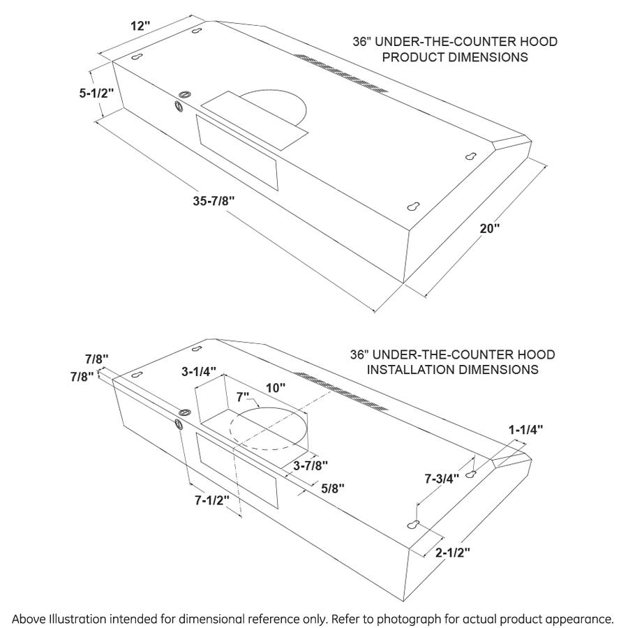 """Model: JVX5360BJTS   GE GE® 36"""" Under The Cabinet Hood"""