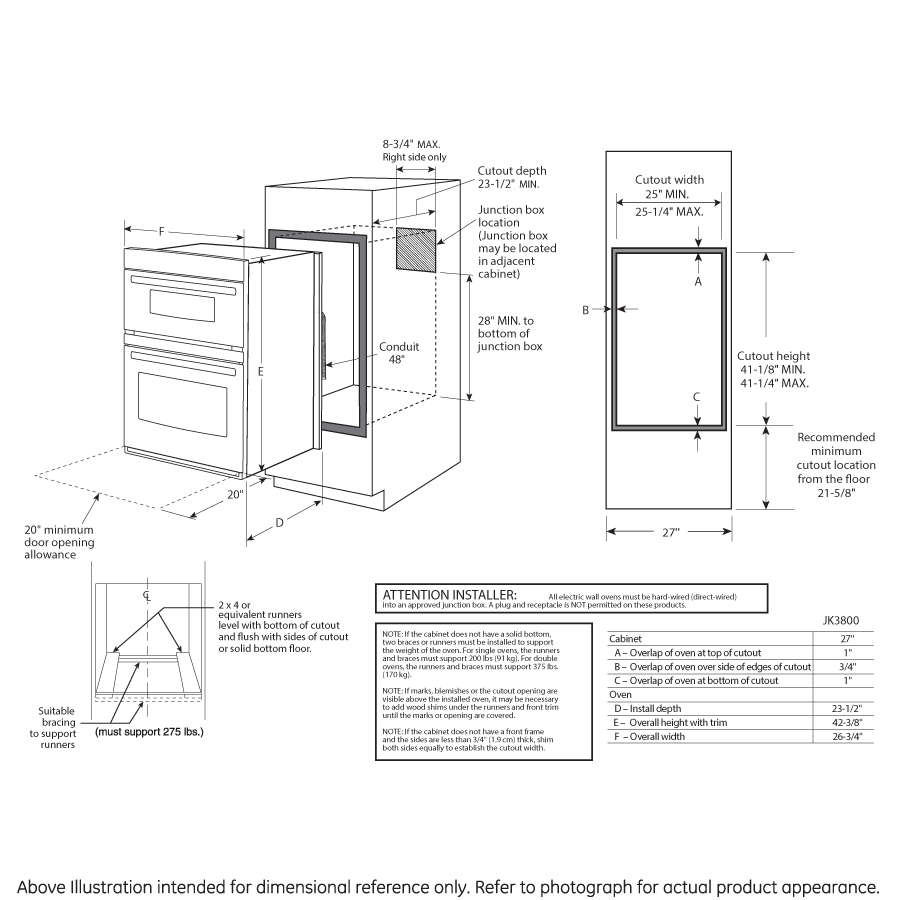 """Model: JK3800SHSS   GE GE® 27"""" Built-In Combination Microwave/Thermal Wall Oven"""