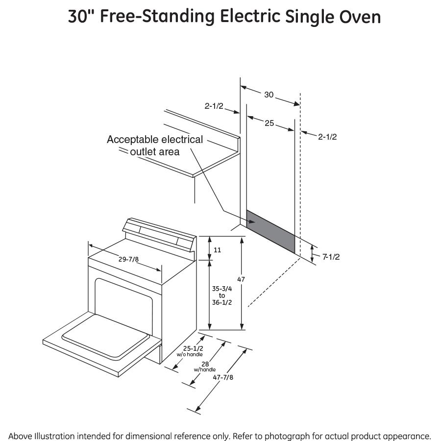"Model: JB655DKWW   GE GE® 30"" Free-Standing Electric Convection Range"
