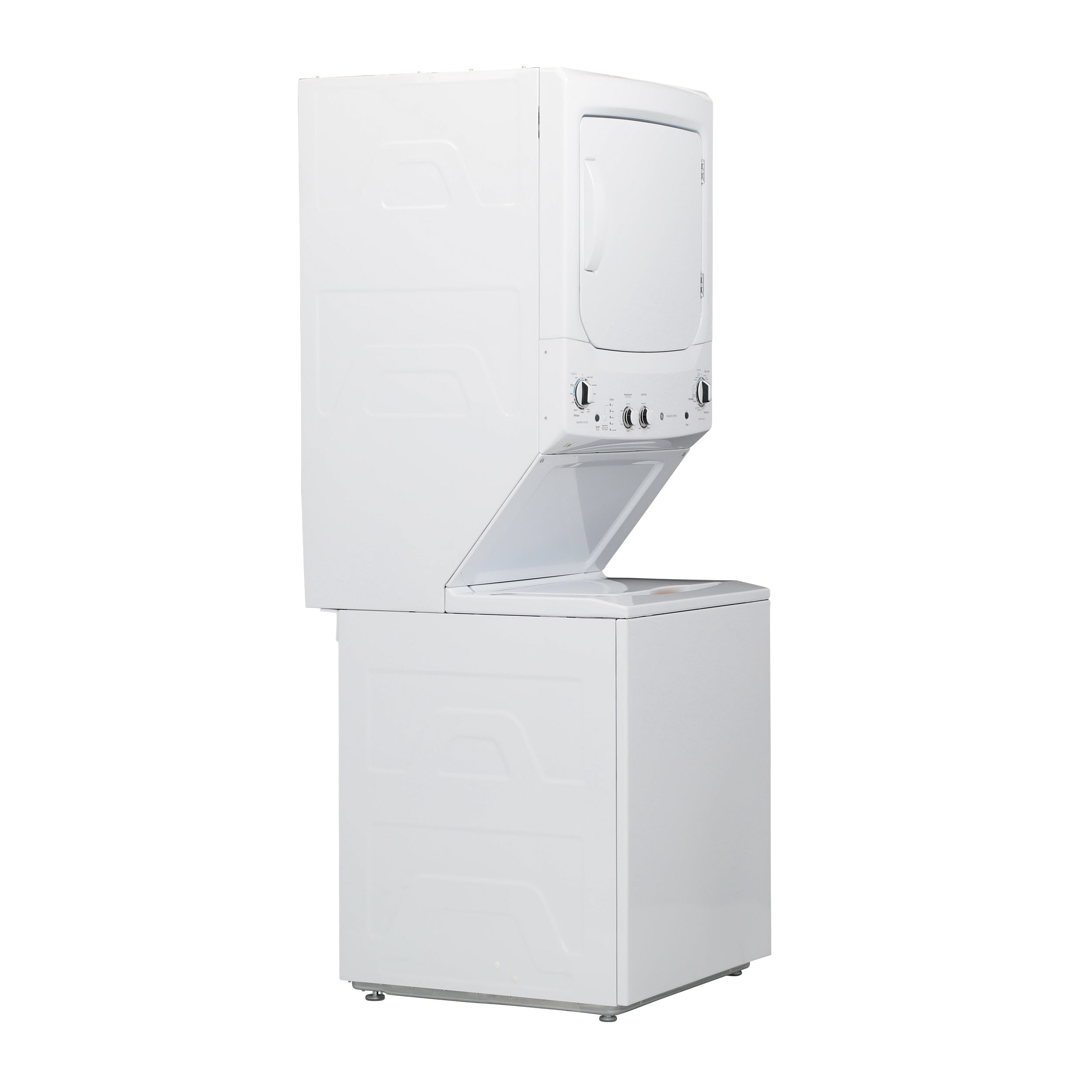 Model: GUD27GSSMWW | GE GE Unitized Spacemaker® 3.8 cu. ft. Capacity Washer with Stainless Steel Basket and 5.9 cu. ft. Capacity Gas Dryer