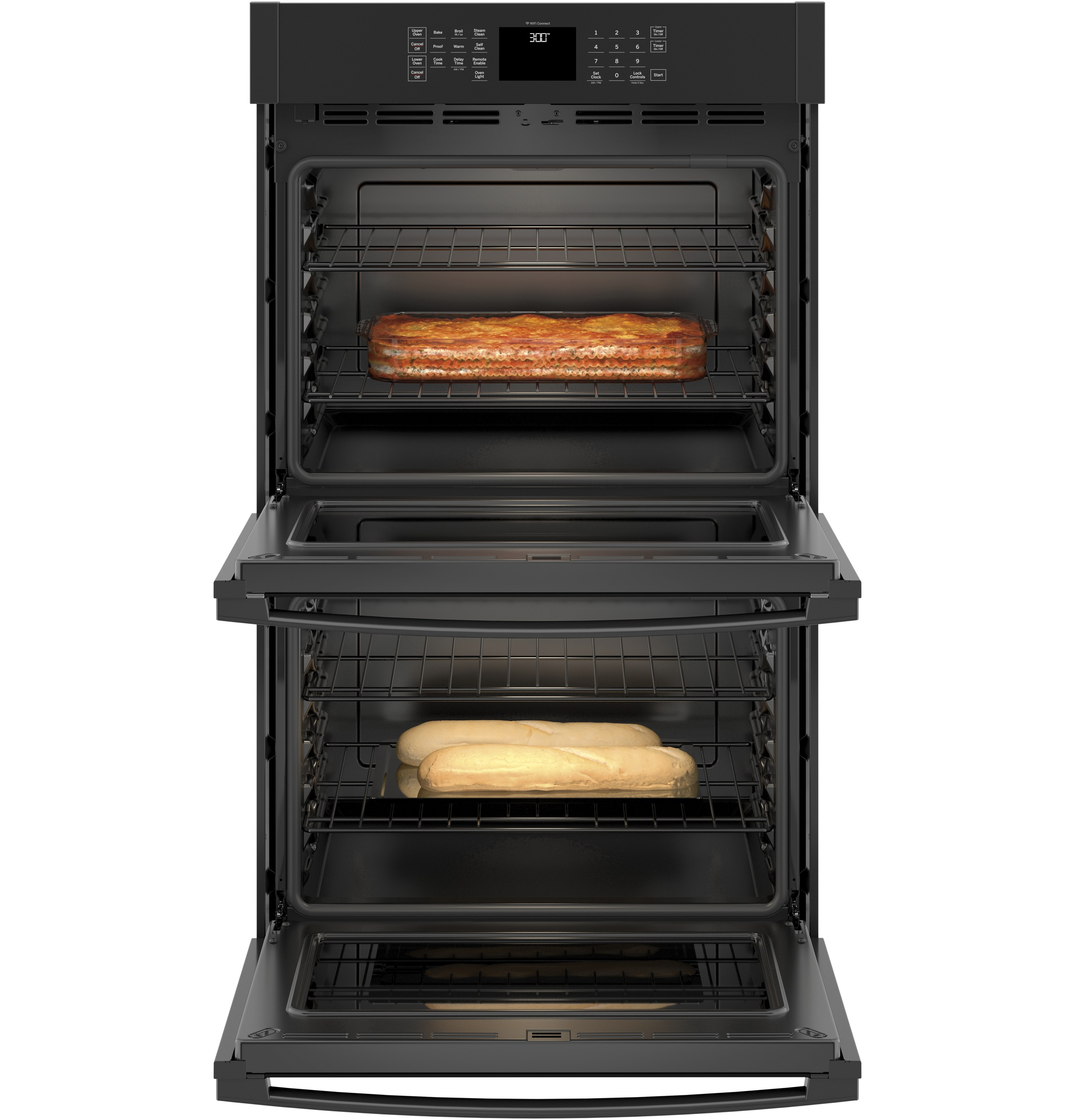 """Model: JTD3000DNBB   GE GE® 30"""" Smart Built-In Self-Clean Double Wall Oven with Never-Scrub Racks"""