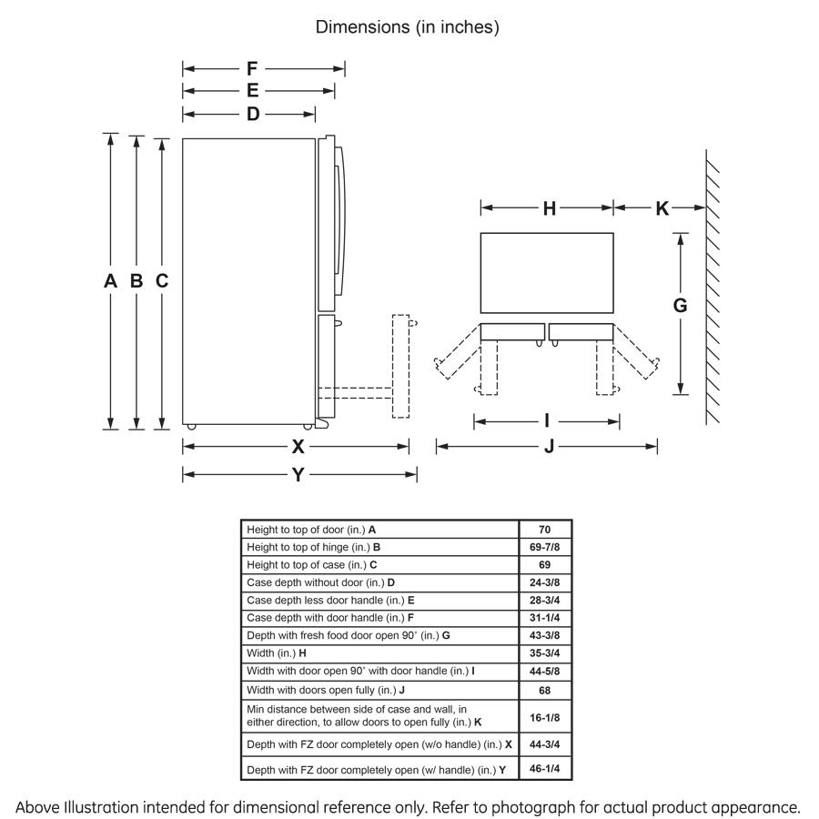 Model: GWE23GENDS   GE GE® ENERGY STAR® 23.1 Cu. Ft. Counter-Depth French-Door Refrigerator