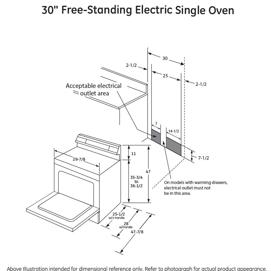 """Model: JB625DKWW   GE GE® 30"""" Free-Standing Electric Range"""