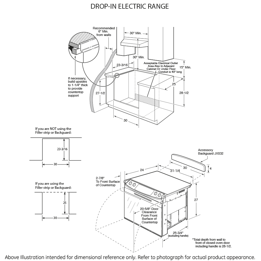 "Model: JD630DFWW   GE GE® 30"" Drop-In Electric Range"