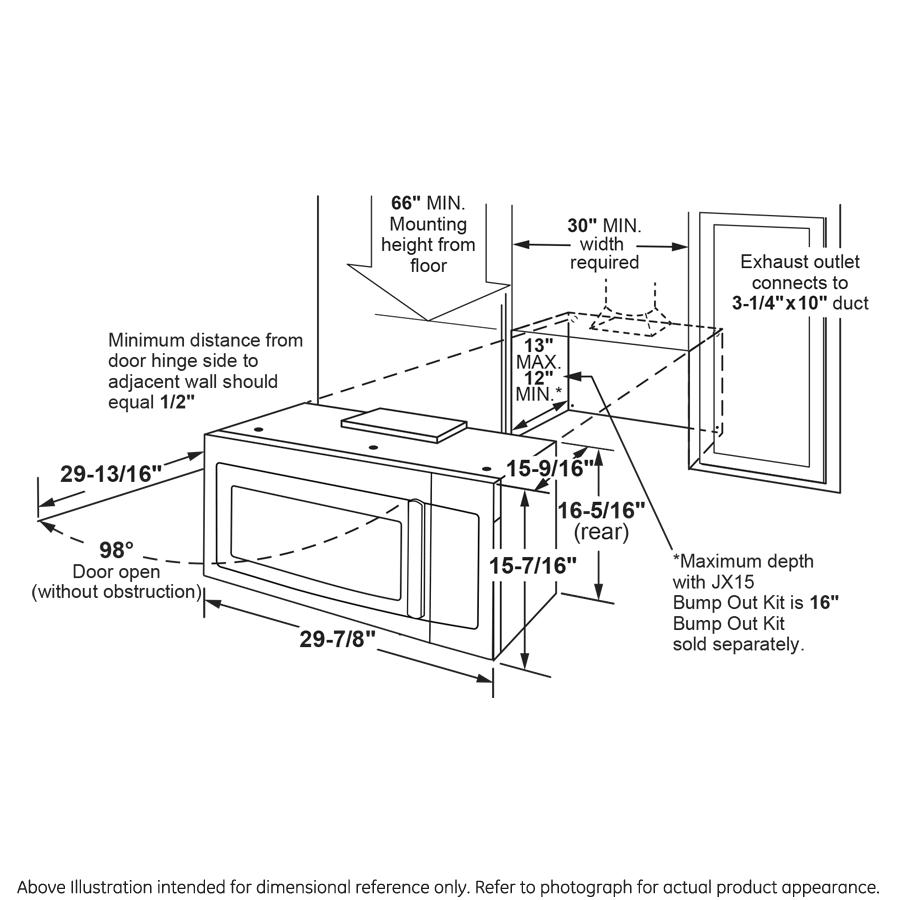 Model: JVM7195BLTS | GE GE® 1.9 Cu. Ft. Over-the-Range Sensor Microwave Oven