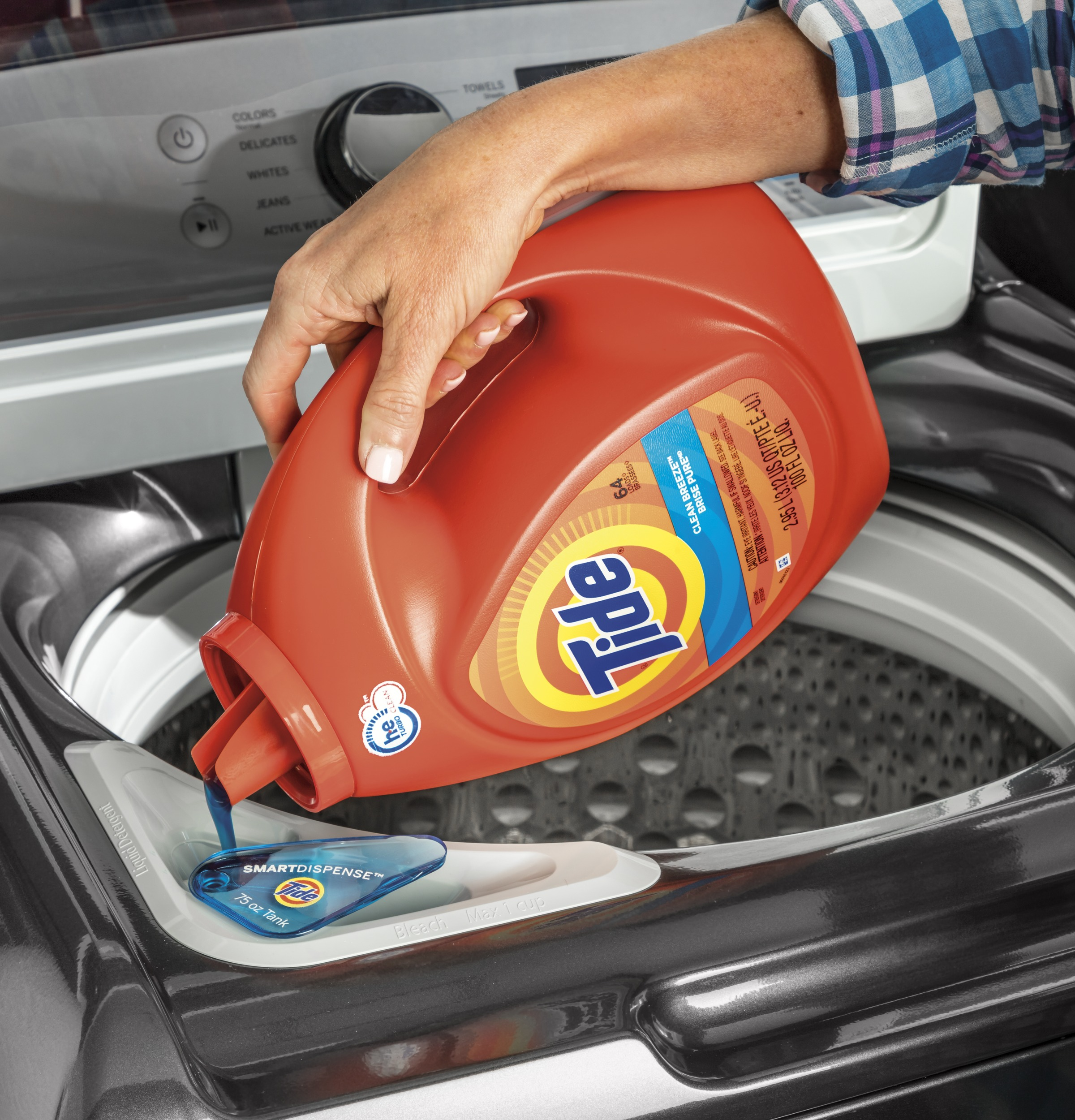 Model: GTW840CSNWS   GE GE® 5.2  cu. ft. Capacity Smart Washer with Sanitize w/Oxi and SmartDispense