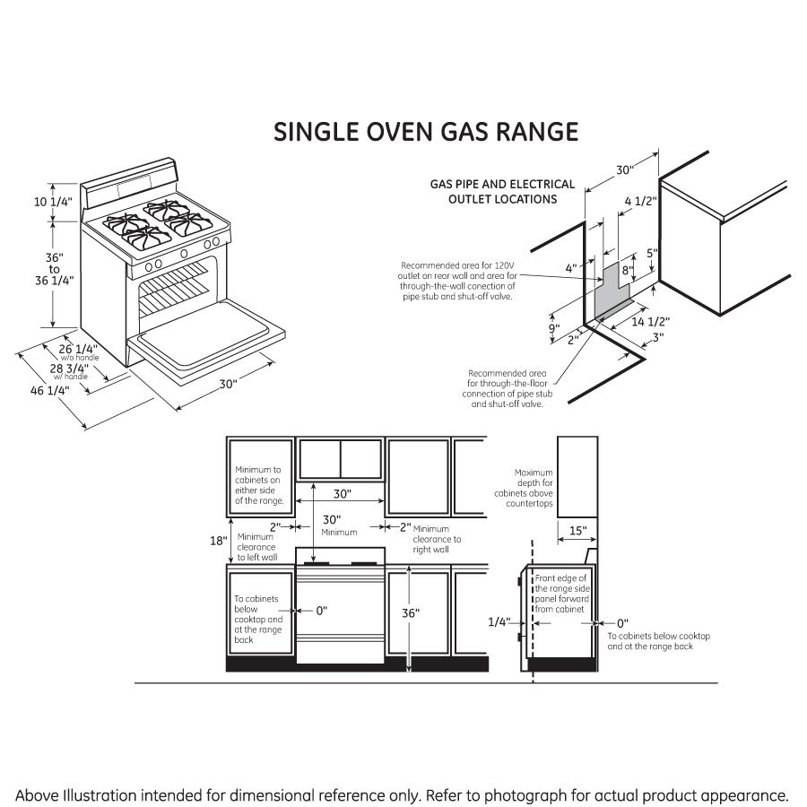"Model: JGB635DEKBB   GE GE® 30"" Free-Standing Gas Range"