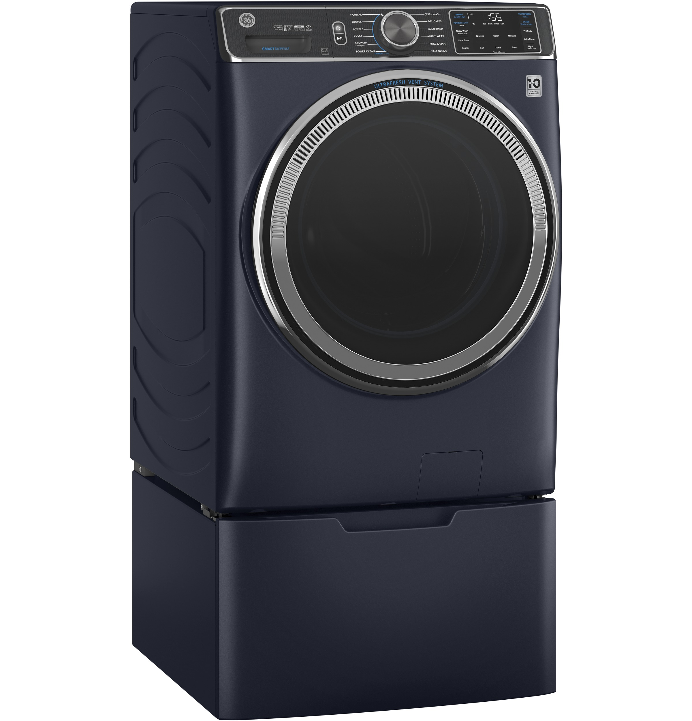Model: GFW850SPNRS   GE GE® 5.0 cu. ft. Capacity Smart Front Load ENERGY STAR® Steam Washer with SmartDispense™ UltraFresh Vent System with OdorBlock™ and Sanitize + Allergen
