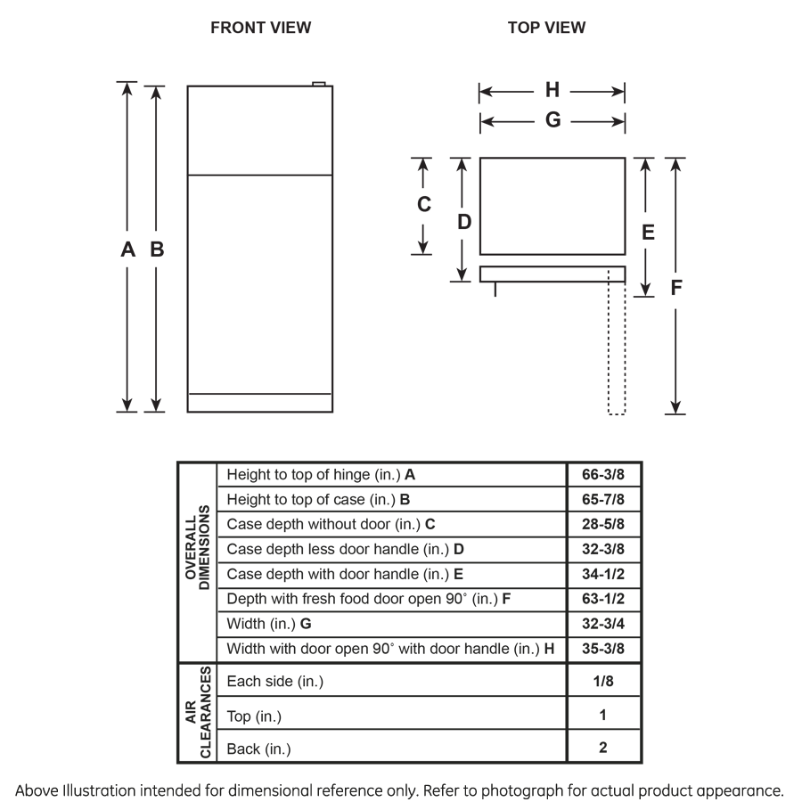 Model: GTS22KGNRBB | GE GE® 21.9 Cu. Ft. Top-Freezer Refrigerator