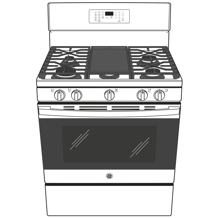 """Model: JGB735DPWW   GE GE® 30"""" Free-Standing Gas Convection Range with No Preheat Air Fry"""