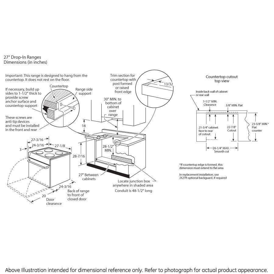 "Model: JM250DFBB   GE GE® 27"" Drop-In Electric Range"
