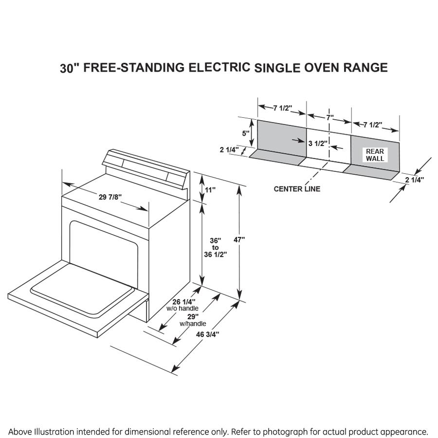 "Model: JB480DMWW   GE GE 30"" Free-standing Electric Radiant Smooth Cooktop Range"