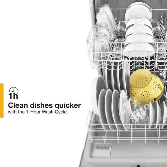 Model: WDF130PAHS   Whirlpool Heavy-Duty Dishwasher with 1-Hour Wash Cycle