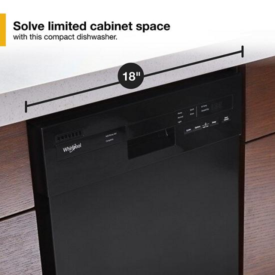 Model: WDF518SAHB   Whirlpool Small-Space Compact Dishwasher with Stainless Steel Tub