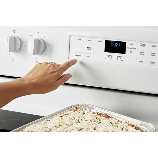 Model: WFE515S0JW   Whirlpool 5.3 cu. ft. Whirlpool® electric range with Frozen Bake™ technology