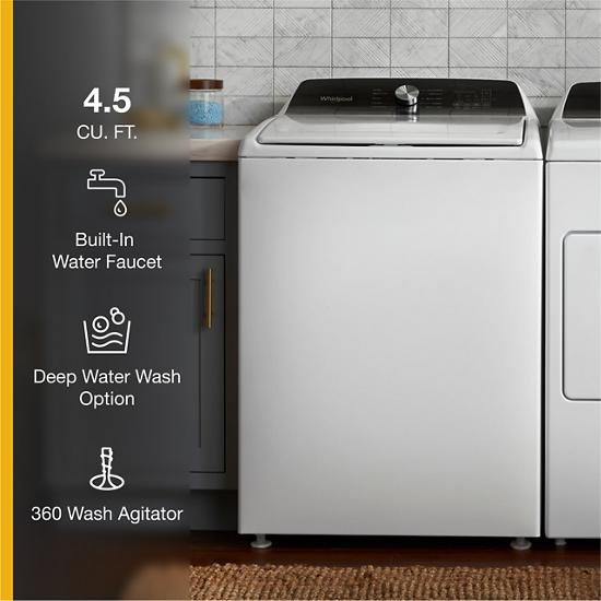 Model: WTW5015LW | Whirlpool 4.5 Cu. Ft. Top Load Agitator Washer with Built-In Faucet