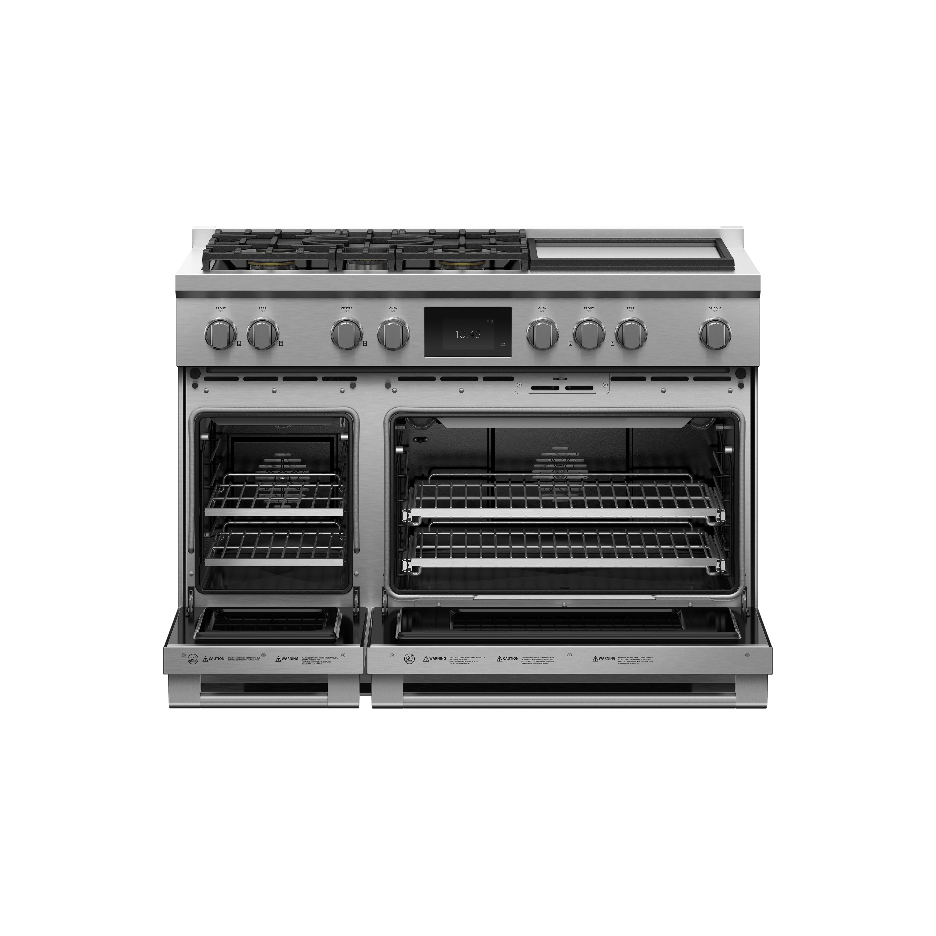 """Fisher and Paykel Dual Fuel Range, 48"""", 5 Burners with Griddle, Self-cleaning"""