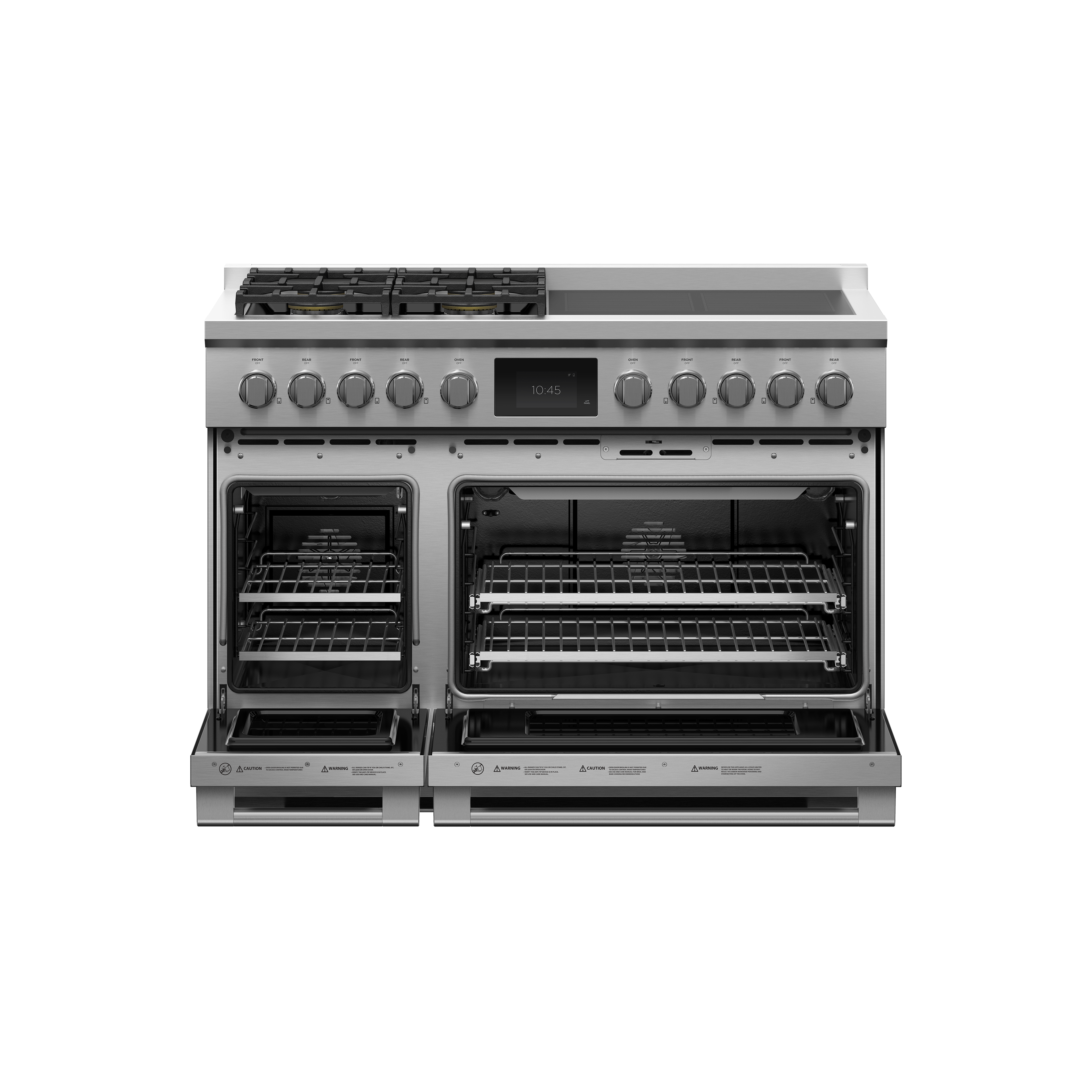 """Fisher and Paykel Dual Fuel Range, 48"""", 4 Burners, 4 Induction Zones, Self-cleaning"""