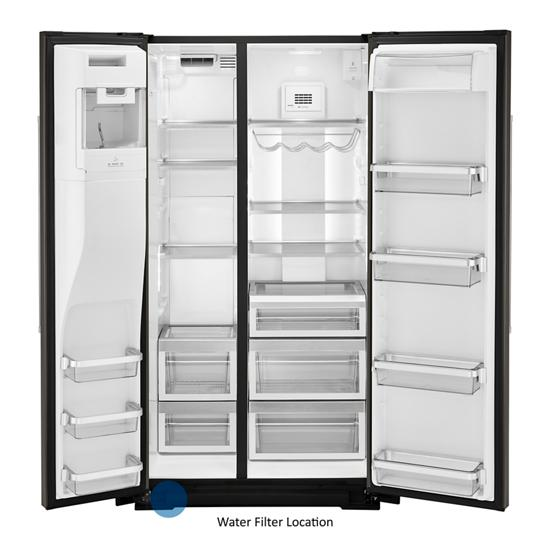 Model: KRSC700HBS   KitchenAid 19.9 cu ft. Counter-Depth Side-by-Side Refrigerator with Exterior Ice and Water and PrintShield™ finish
