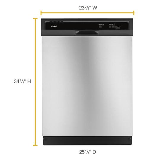 Model: WDF330PAHS | Whirlpool Heavy-Duty Dishwasher with 1-Hour Wash Cycle