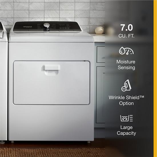 Model: WGD5010LW   Whirlpool 7.0 Cu. Ft. Top Load Gas Moisture Sensing Dryer