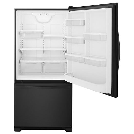 Model: WRB322DMBB | Whirlpool 33-inches wide Bottom-Freezer Refrigerator with SpillGuard™ Glass Shelves - 22 cu. ft