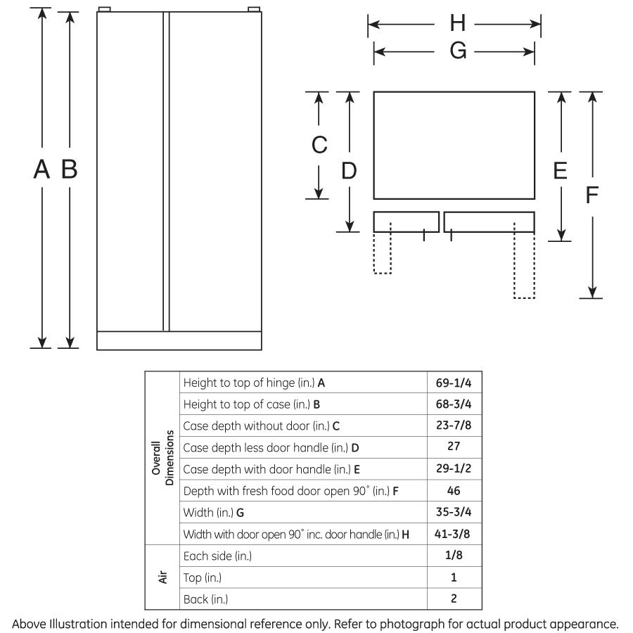 Model: GZS22DMJES   GE GE® 21.9 Cu. Ft. Counter-Depth Side-By-Side Refrigerator