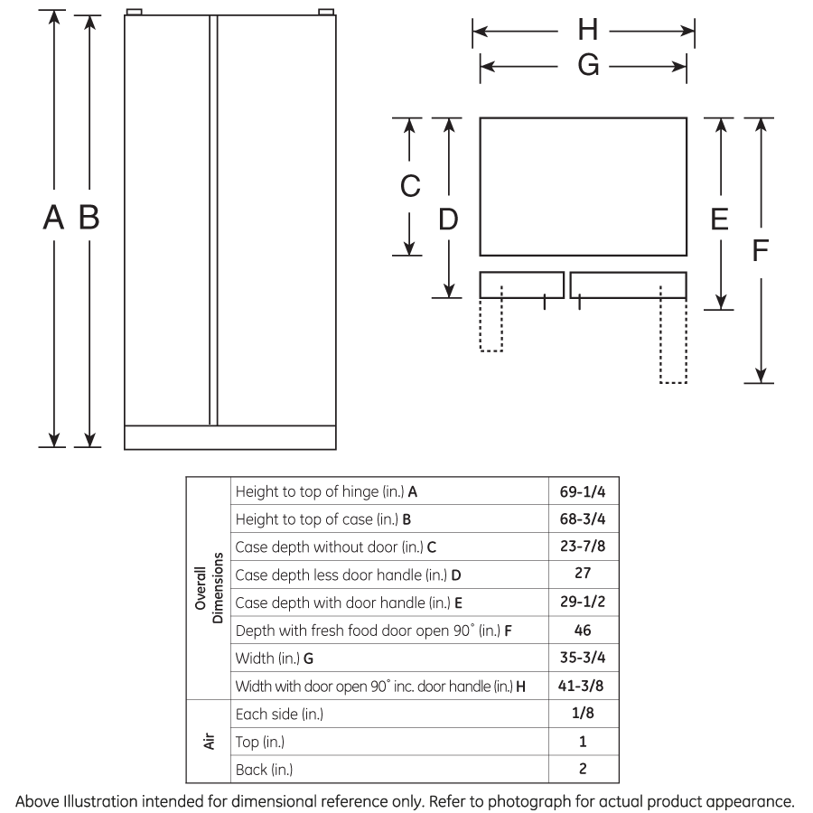 Model: GZS22DGJBB | GE GE® 21.9 Cu. Ft. Counter-Depth Side-By-Side Refrigerator