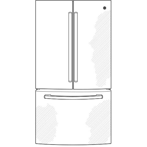 Model: GNE21FSKSS   GE GE® ENERGY STAR® 20.8 Cu. Ft. French-Door Refrigerator