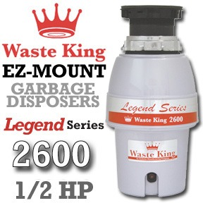 Waste King Garbage Disposal - L-2600   1/2 HP EZ Mount Legend Series Garbage Disposer