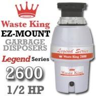 Waste King Garbage Disposal - L-2600   1/2 HP EZ Mount Legend Series Garbage Disposer