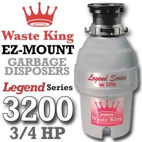 Waste King Garbage Disposal - 3200   3/4 HP Legend Series