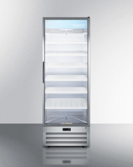 Model: ACR1718RH | Full-size pharmaceutical all-refrigerator with a glass door, lock, digital thermostat, and a stainless steel interior and exterior cabinet