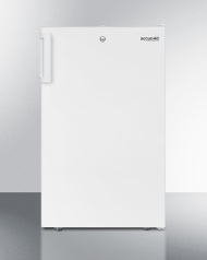 Commercially listed 20' wide counter height refrigerator-freezer with a lock, white exterior