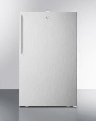 Commercially listed ADA compliant 20' wide freestanding refrigerator-freezer with a lock, stainless steel door, thin handle and white cabinet
