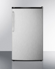 ADA compliant compact ENERGY STAR qualified auto defrost refrigerator-freezer with a full stainless steel wrapped exterior