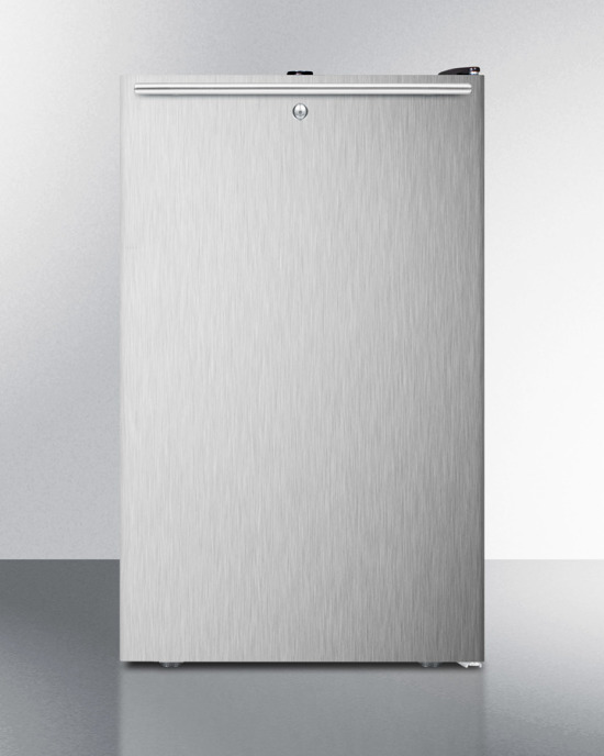 Commercially listed 20' wide built-in undercounter all-refrigerator, auto defrost with a lock, stainless steel door, horizontal handle and black cabinet