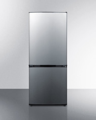 ENERGY STAR qualified frost-free bottom freezer refrigerator with stainless steel doors and black cabinet in unique 60' height