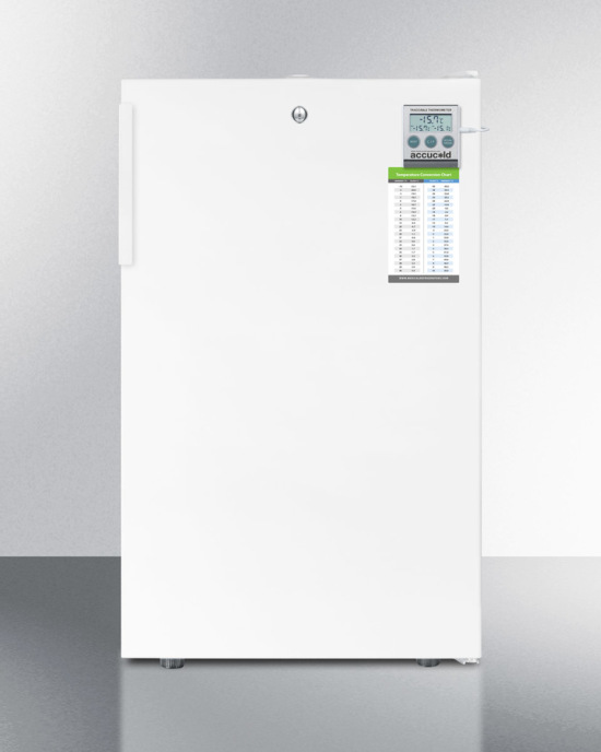 Commercially listed ADA compliant 20' wide all-freezer for freestanding use, manual defrost with a lock and traceable thermometer