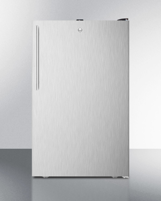 Commercially listed 20' wide counter height all-freezer, -20º C capable with a lock, stainless steel door, thin handle and black cabinet