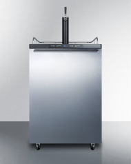 Freestanding residential beer dispenser, auto defrost with digital thermostat, stainless steel wrapped door, horizontal handle and black cabinet