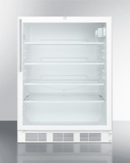 ADA compliant, commercially listed freestanding glass door all-refrigerator with white cabinet, lock, and thin handle