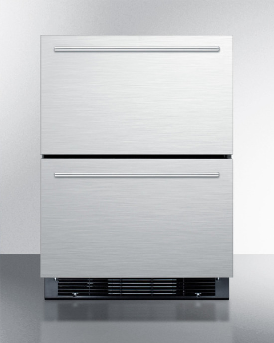 Two-drawer refrigerator-freezer for built-in or freestanding use, fully frost-free with icemaker, digital thermostat, and stainless steel exterior
